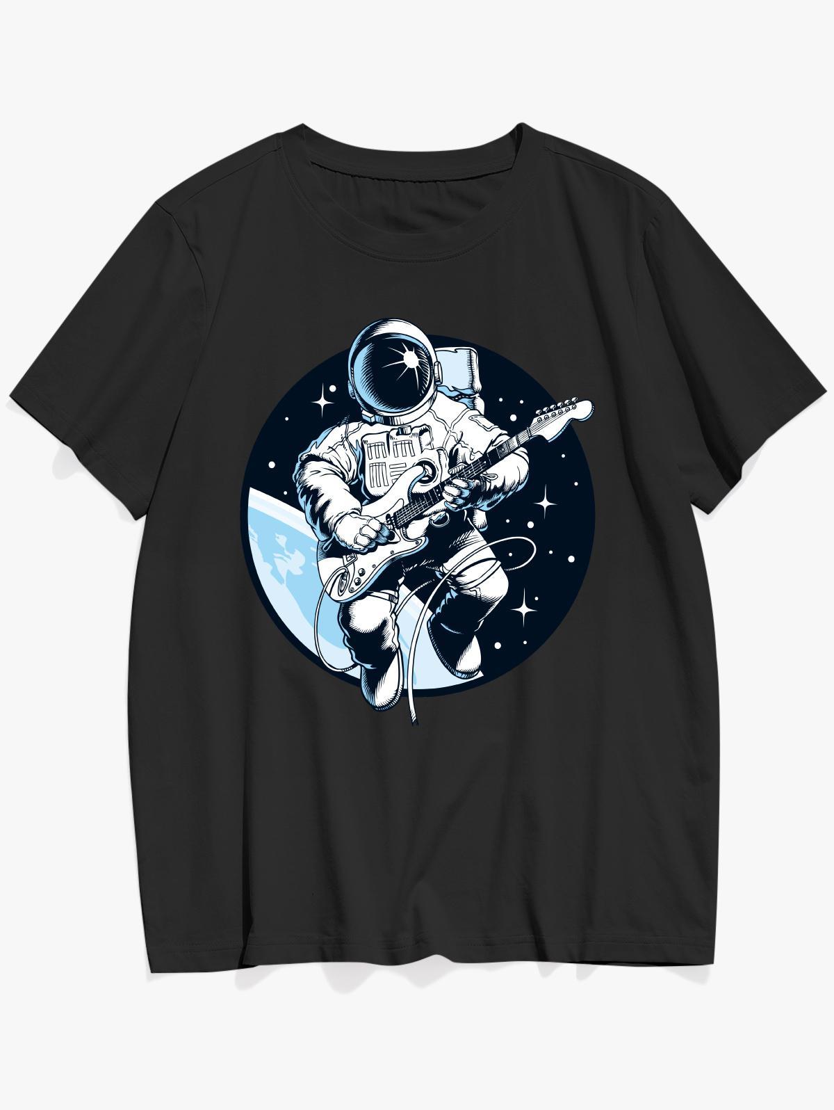 Playing Guitar Astronaut Print Graphic Tee, Black