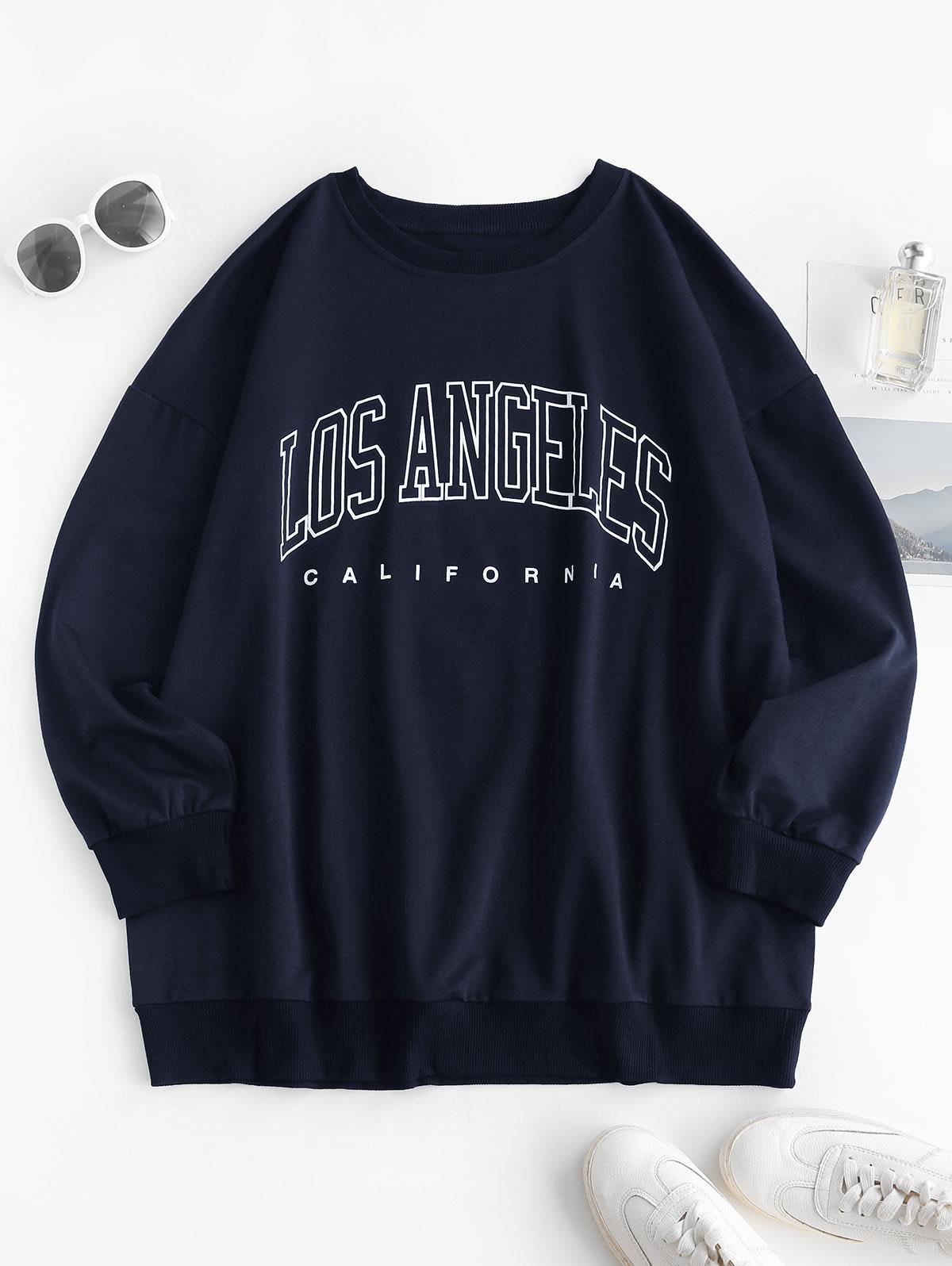 Sweat-shirtStyleBoyfriendLettreGraphique Xl Bleu profond