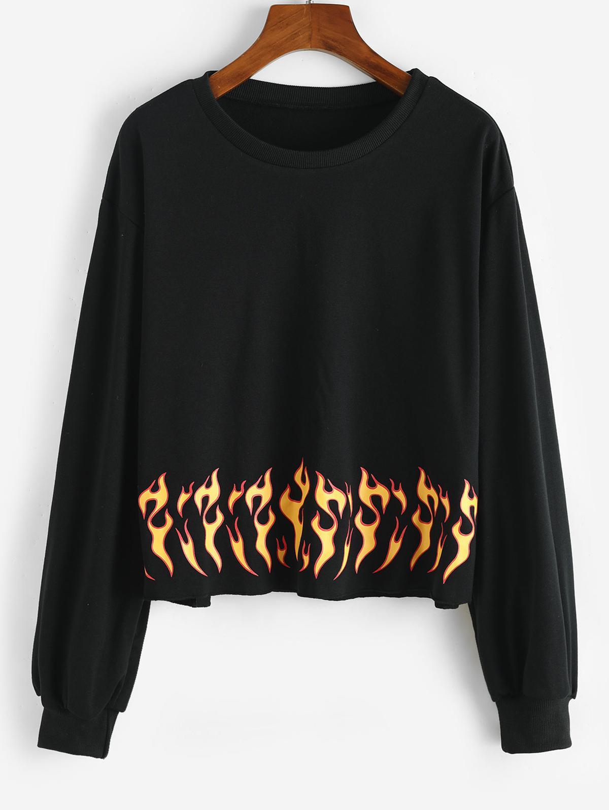 Sweat-shirt Flamme Imprimé à Ourlet Brut - ZAFUL - Modalova