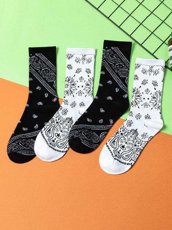 2 Pairs Paisley Print Crew Socks Set