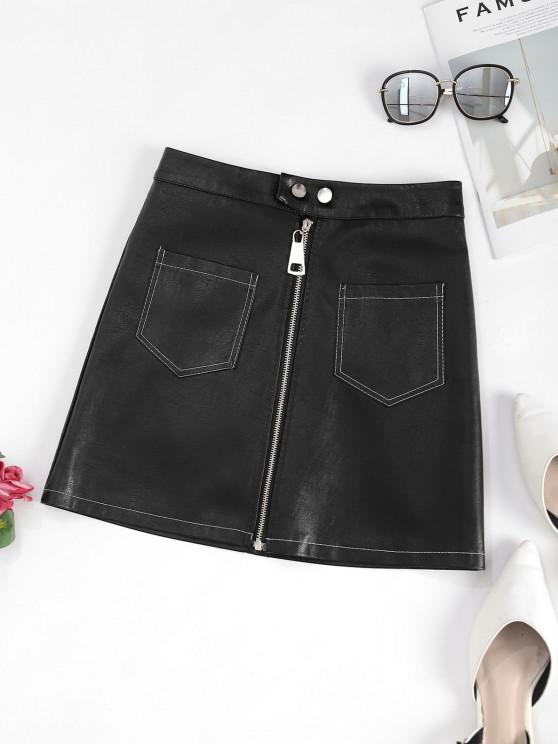 women Zip Up Front Pockets PU Leather Skirt - BLACK L