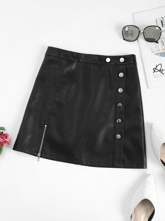 womens Zippered Front Mock Button PU Leather Mini Skirt - BLACK XL