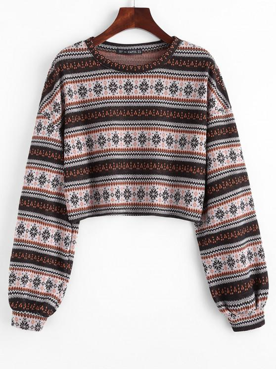 outfits Ethnic Cropped Knitwear - COFFEE XL