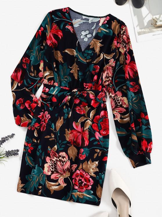 Vestido Bodycon de impresso floral com cinto - Azul Escuro L