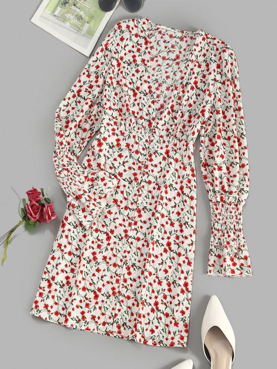 Button Loop Tiny Floral Smock Sleeve Mini Dress - متعدد S