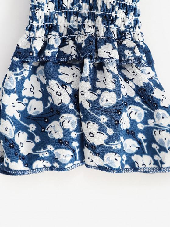 Tiny Floral Button Loop Empire Waist Mini Dress - Blue L | ZAFUL