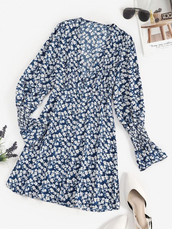 Mini Vestido Floral de Mediano com Cintura de Botão - Azul M