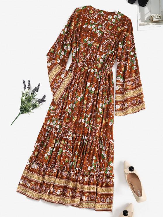 Drawstring Waist Floral Tassels Bohemian Dress - Coffee M | ZAFUL