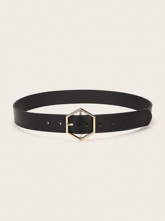 Geometric Pin Buckle Wide Belt - أسود