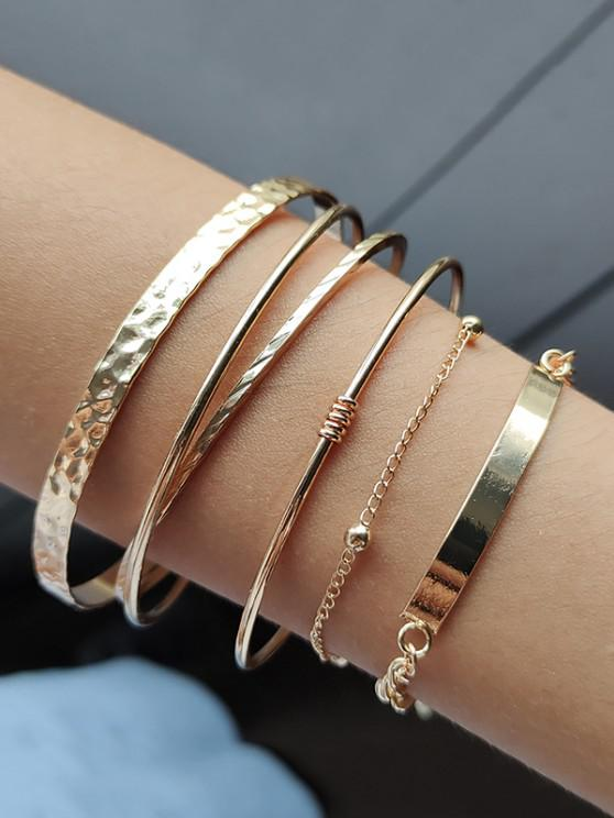 fashion 5Pcs Brief Cuff Chain Bracelet Set - GOLDEN