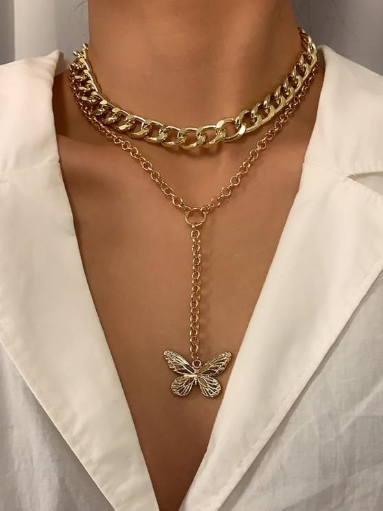 womens 2Pcs Butterfly Pendant Necklace Set - GOLDEN