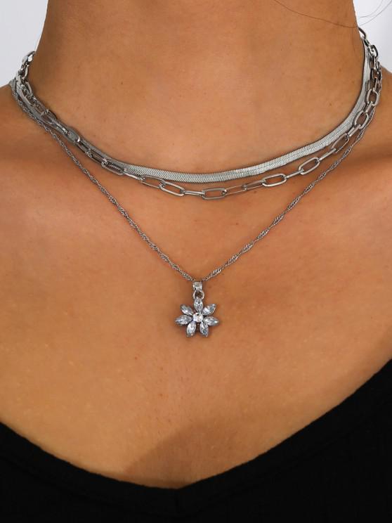 women 3Pcs Floral Rhinestone Chain Necklace Set - SILVER