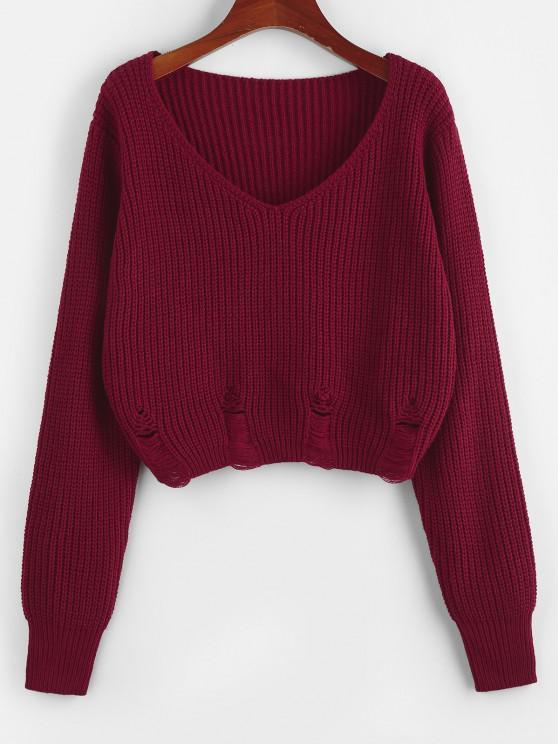 ZAFUL V Neck Ripped Crop Sweater - أحمر عميق L
