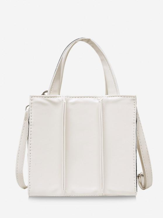fashion Solid Square Crossbody Handbag - MILK WHITE
