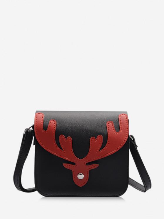 buy Christmas Antler Pattern Crossbody Bag - BLACK
