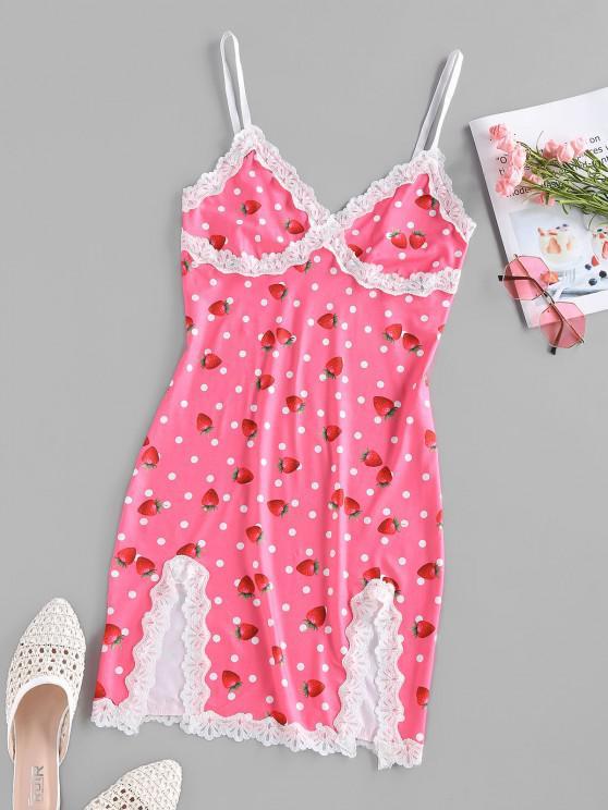 ZAFUL Strawberry Dots Print Slip Dress - وردي فاتح L