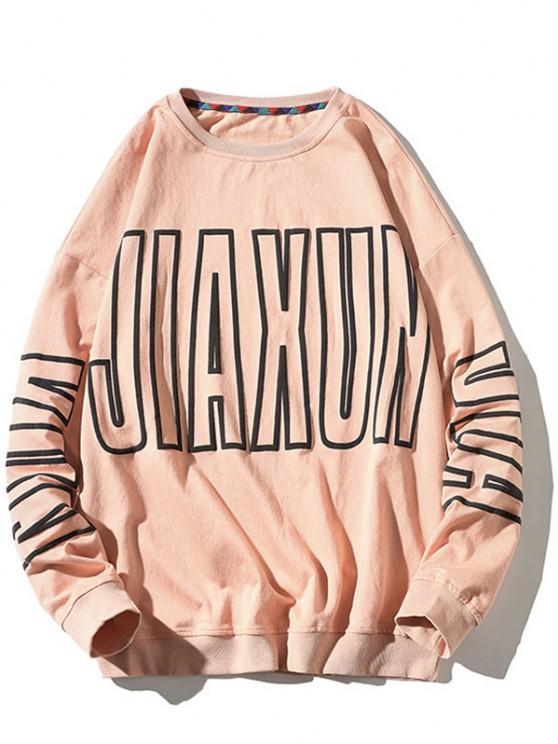 outfit Letter Pattern Crew Neck Pullover Sweatshirt - PINK XL