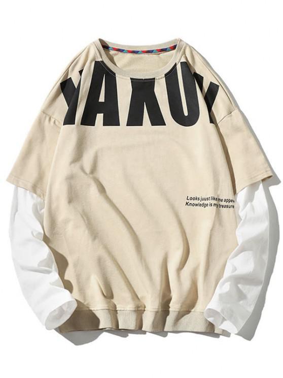 sale Letter Pattern Faux Twinset Sweatshirt - BEIGE 3XL