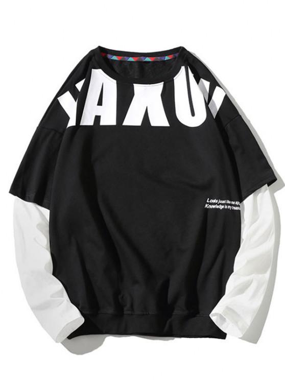 Letter Pattern Faux Twinset Sweatshirt - أسود 2XL