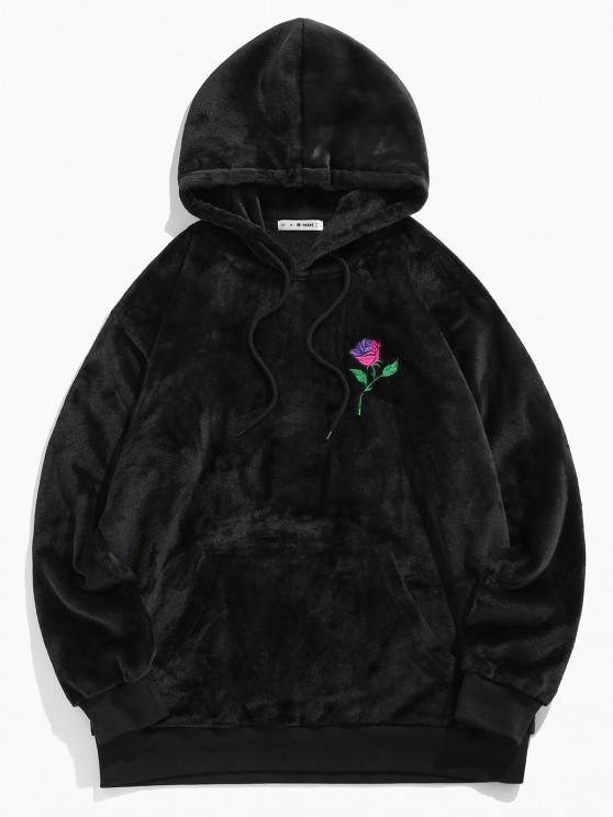 ZAFUL Rose Embroidery Fleece Hoodie - أسود S