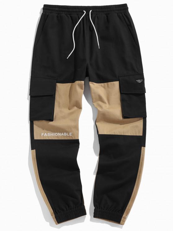 ZAFUL Pantalones de Carga con Bordado de Letras y de Color Bloque - Multicolor M