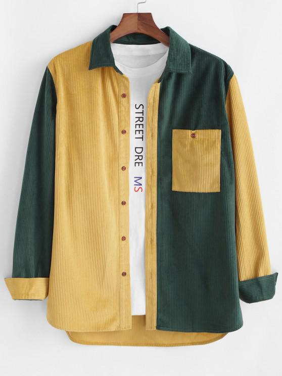 trendy Colorblock Panel Pocket Corduroy Long Sleeve Shirt - YELLOW XL
