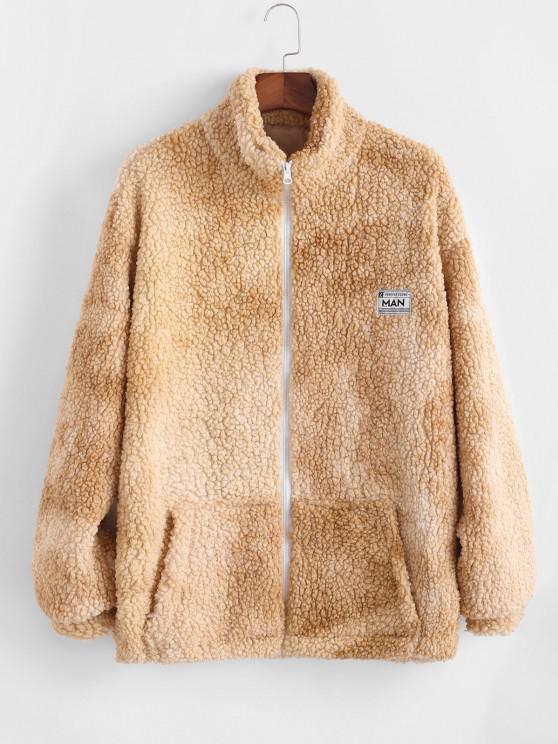 shops Tie Dye Faux Fur Teddy Jacket - LIGHT COFFEE L