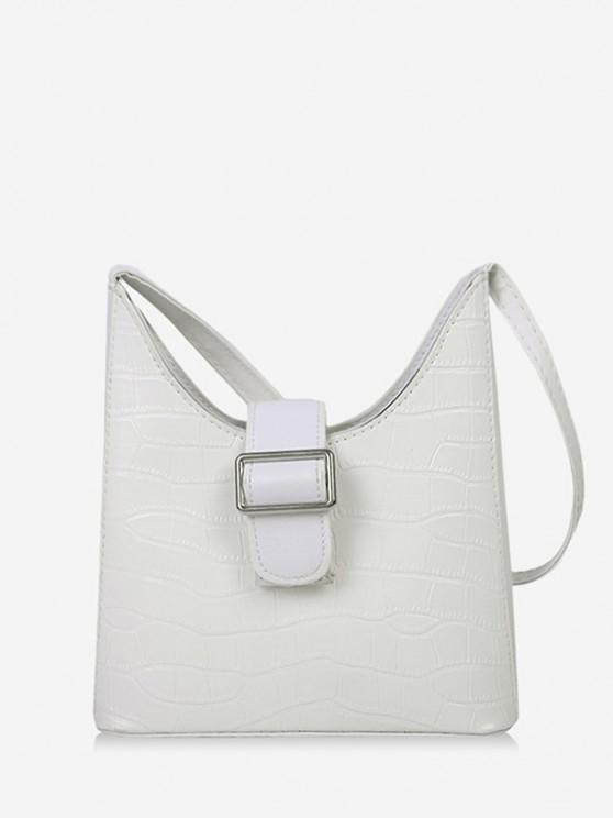 affordable Buckle Textured Shoulder Bag - MILK WHITE