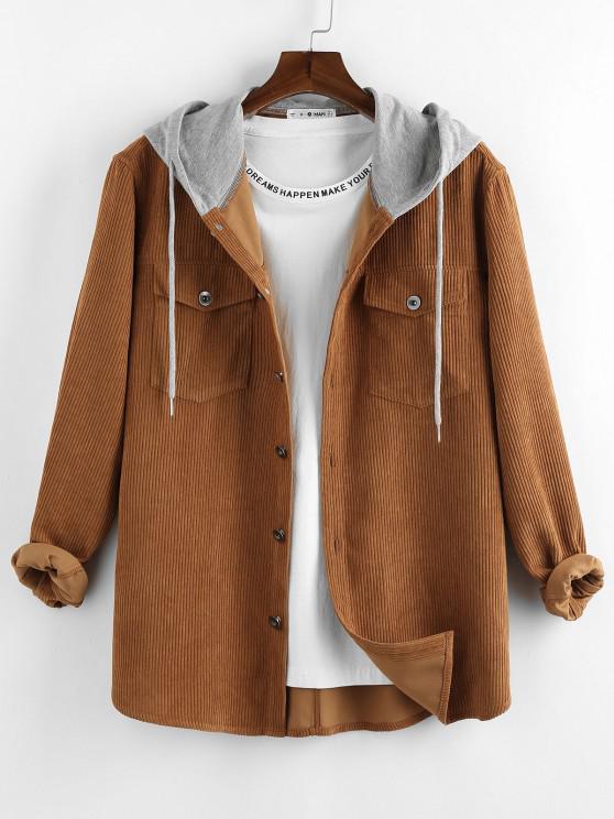 ZAFUL Colorblock Corduroy Hooded Shirt Jacket - قهوة M