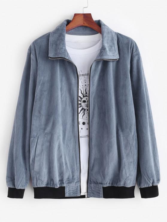 hot Zip Up Colorblock Panel Corduroy Jacket - DEEP BLUE M