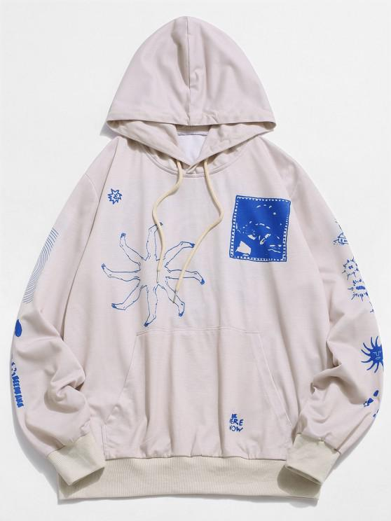 online Abstract Flower Print Front Pocket Casual Hoodie - NATURAL WHITE L