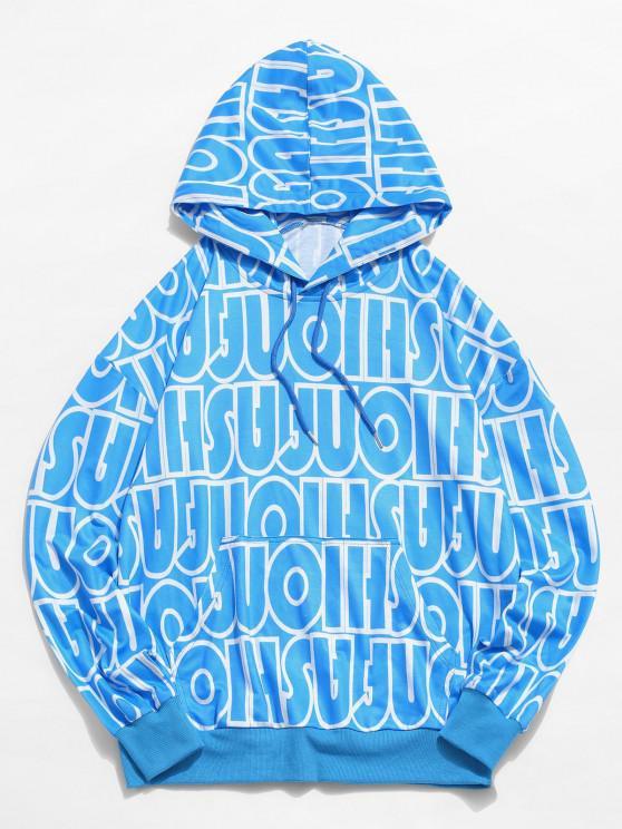 sale Allover Letter Print Drop Shoulder Casual Hoodie - LIGHT BLUE L
