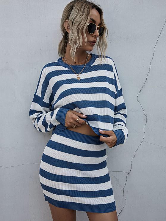 fancy Striped Drop Shoulder Sweater Bodycon Skirt Set - BLUE S