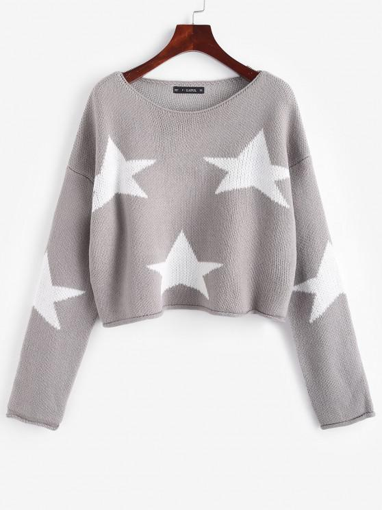 outfit Drop Shoulder Star Graphic Cropped Sweater - LIGHT GRAY ONE SIZE