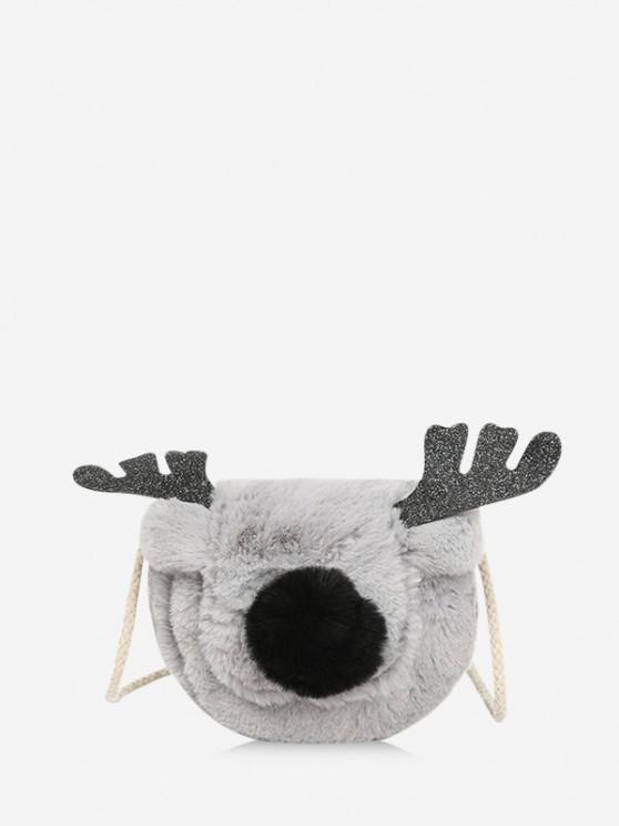 latest Christmas Elk Faux Fur Crossbody Bag - GRAY