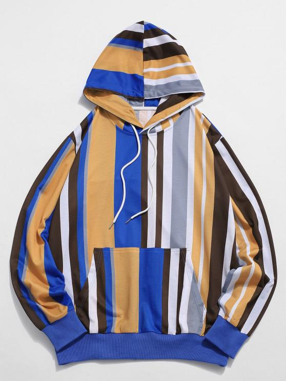 Colorblock Striped Front Pocket Drawstring Hoodie - متعدد 2XL