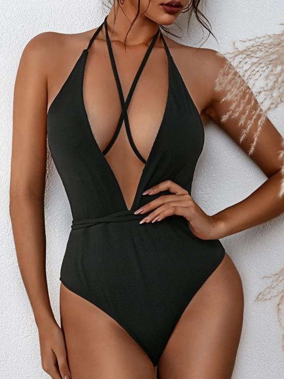 ZAFUL Plunge Backless Convertible Crisscross One-piece Swimsuit - أسود M
