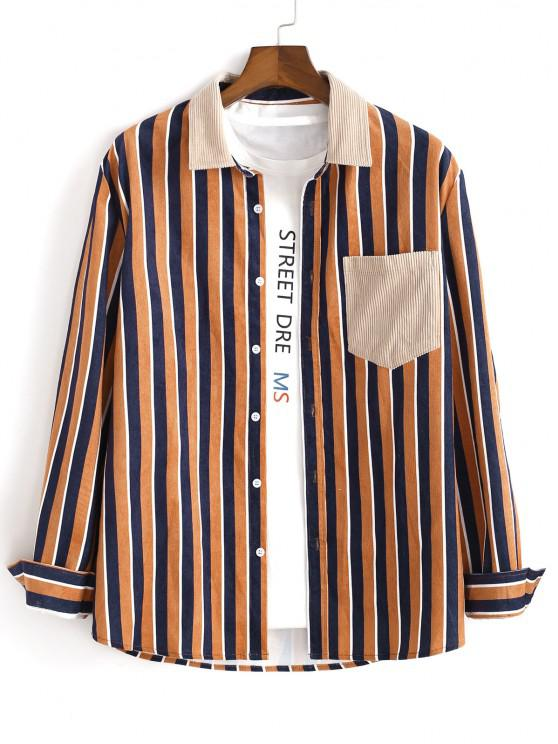 best Vertical Striped One Pocket Button Up Corduroy Shirt - MULTI S