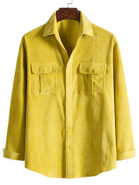 sale Double Pockets Button Down Corduroy Shirt - BRIGHT YELLOW M
