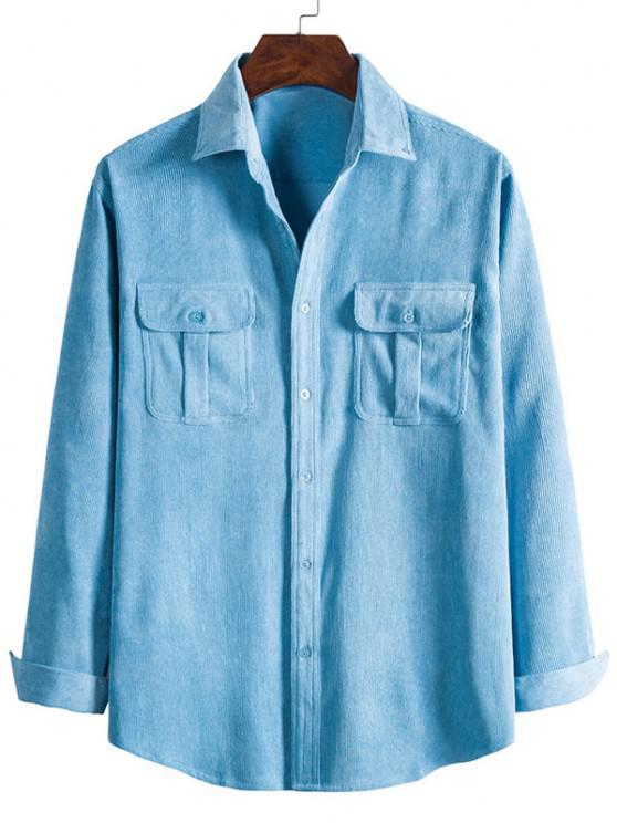 latest Double Pockets Button Down Corduroy Shirt - CRYSTAL BLUE M