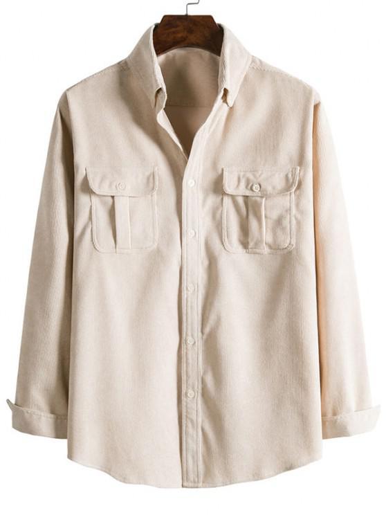 Double Pockets Button Down Corduroy Shirt - اللون البيج XL