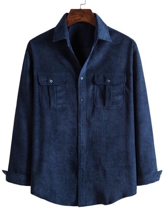 Camisa de Veludo de Algodão de Bolsos com Botões - Cadetblue 2XL