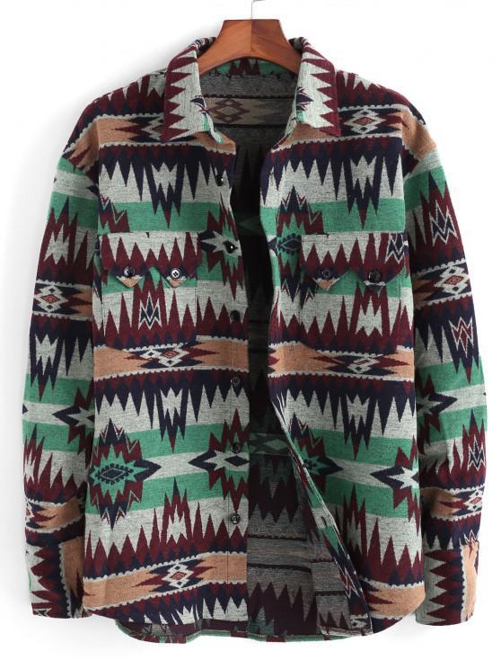 Veste Ethnique Motif Tribal Boutonnée avec Poche - Vert XL