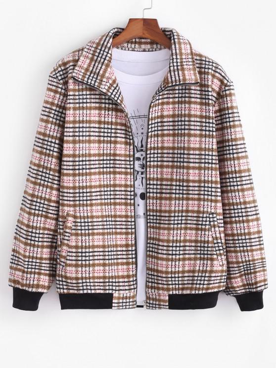 Tweed Lined Plaid Jacket - القهوة الخفيفة L