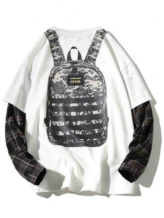 women Backpack Print Plaid Faux Twinset Sweatshirt - WHITE L
