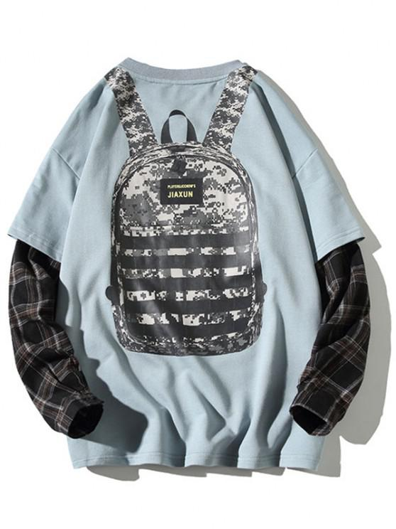 trendy Backpack Print Plaid Faux Twinset Sweatshirt - BLUE M