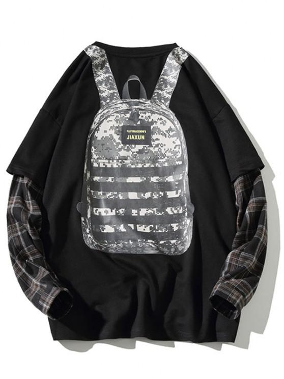 Backpack Print Plaid Faux Twinset Sweatshirt - أسود 4XL
