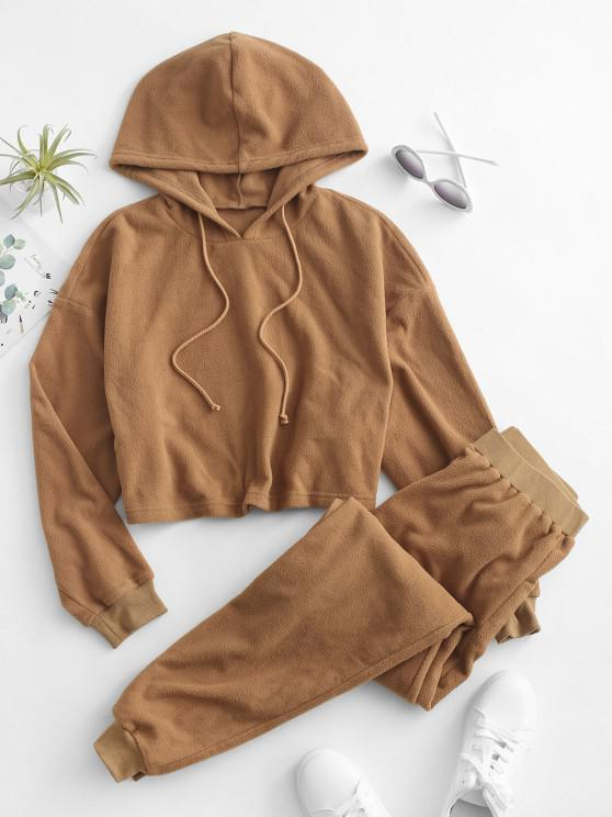 trendy ZAFUL Faux Fur Cropped Hoodie and Pants Set - TIGER ORANGE S