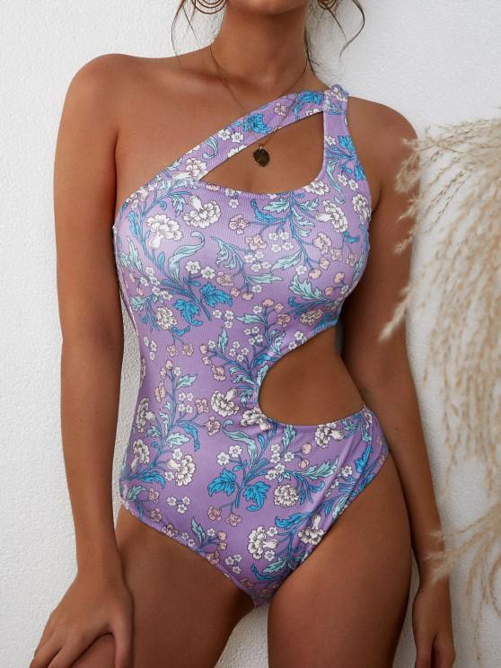 ZAFUL Badebekleidung mit Geripptem Ausschnitt und Einziger Schulter - Helles Lila S