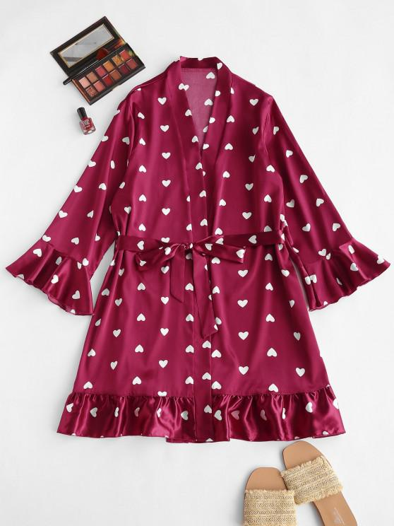 women Belted Flare Sleeve Heart Satin Robe - RED WINE S